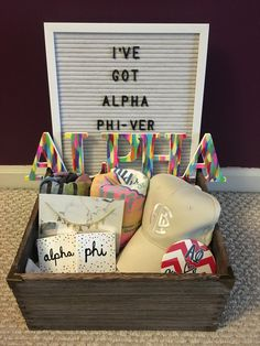 "Sorority big little basket themed ""Alpha Phi-ver!"""