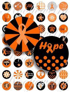 Becky. Leukemia orange ribbon images for bottle caps by KoolJewelry, $2.50
