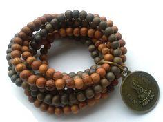Buddha Bracelet - Brown Wooden Beaded Bracelet  - Wood Bead Stretch Bracelet