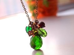 Green Faceted tear drop cluster pendant necklace by sianykitty, $23.00