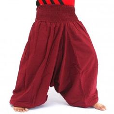 Aladinhose Shalwarhose aus Baumwolle - bordeaux