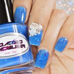 blue, pond, gradient, glitter, nailcharm, nails, mani
