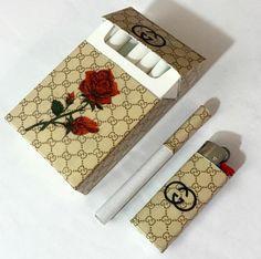 cigarette pack and lighter, custom Gucci, Ava Nirui, product design