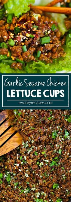 These Garlic Sesame Asian Chicken Lettuce Cups have the BEST Asian sauce. Made w… These Garlic Sesame Asian Chicken Lettuce Cups have the BEST Asian sauce. Made with ground chicken and lettuce wraps. Just 25 minutes for these Asian Lettuce Cups. Asian Lettuce Wraps, Lettuce Wrap Recipes, Lettuce Wraps Ground Beef, Asian Chicken Wraps, Recipe For Lettuce Wraps, Lettuce Wrap Sauce, Asian Chicken Recipes, Best Lettuce For Wraps, Lettuce Wrap Ideas