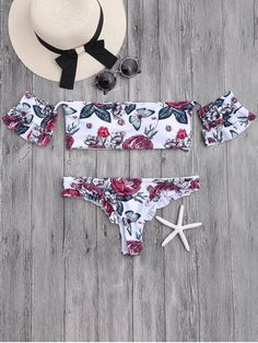 Floral Frilled Off The Shoulder Bikini Set - WHITE M