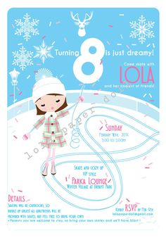 Ice Skating Invitation Printable Email or Printed by lolapaperdoll, $20.00