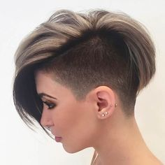 Short Hair with Side Swept Bangs + Half Shaved Head