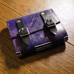 Leather Travel Journal (Purple Swirl with 2 Buckles). $38.00, via Etsy.