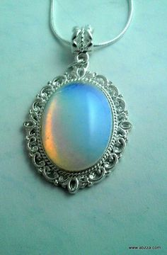 Stunning Opal Opalite Oval Cabochon Necklace. Starting at $1 on Tophatter.com!