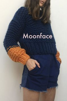 Shoot to the moon to reach for the stars with this chunky knitted sweater fuzzy chunky sweater knit knitting style blue fashion moonface Baby Cardigan, Crochet Cardigan, Knit Crochet, How To Start Knitting, How To Purl Knit, Vogue Knitting, Baby Knitting, Knitting Sweaters, Raglan Pullover
