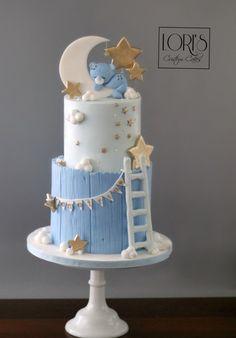 Baby Shower Cake - Kuchen von Lori Mahoney (Lori& Custom Cakes) - More pretty cakes - Baby Shower Cakes For Boys, Baby Boy Cakes, Star Baby Showers, Gold Baby Showers, Baby Shower Themes, Baby Boy Shower, Baby Shower Decorations, Shower Ideas, Baby Shower Pasta