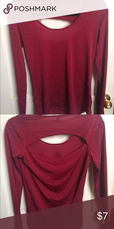 Onzie long sleeve workout top Sheer red. Long sleeve. Light weight. Breathable material. Cut out in upper back. Onzie Tops Tees - Long Sleeve