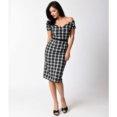 The Pretty Dress Company Vintage 1950s Style Black & White Tartan... ($118) ❤ liked on Polyvore featuring dresses, vintage dresses, black and white dress, pencil dress, off the shoulder dress and vintage pencil dresses