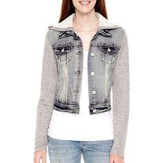 Wallflower Long-Sleeve Hooded Denim Jacket ($30) ❤ liked on Polyvore