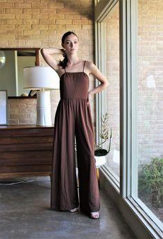 Vintage Brown Pink Striped 70s Tie Neck Dress