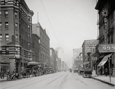 Memphis, Tennessee, 1900. Main Street, north from Gayoso Avenue, Memphis, TN.Memphis art print.Old Tennessee photography.