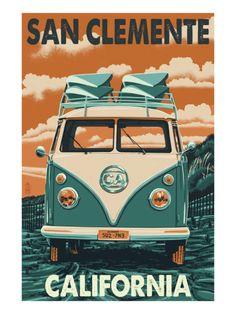 San Clemente, California - VW Van Print by Lantern Press at Art.com
