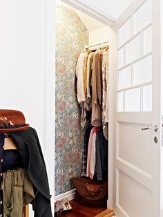 A William Morris wallpaper William Morris Wallpaper, Morris Wallpapers, Furniture Makeover, Home Furniture, Sewing Closet, Small Bungalow, House Essentials, Walk In Wardrobe, Cupboard Storage