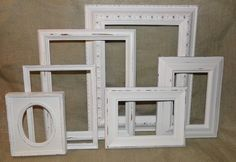 Picture Frame Set of 6 Warm White-Distressed-Shabby Chic-Vintage-Wedding Frames-Gallery Wall on Etsy, $54.00