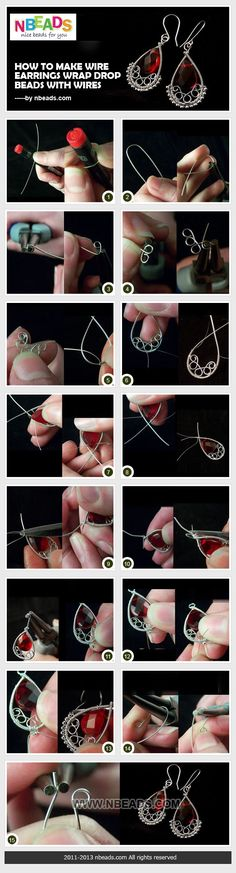 how to make wire earrings-wrap drop beads with wires