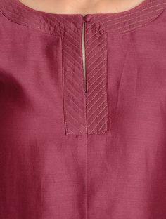 Buy Maroon Zari Stitch Detailed Chanderi Kurta by Jaypore Online Salwar Neck Patterns, Churidar Neck Designs, Salwar Pattern, Kurta Designs Women, Salwar Designs, Neck Designs For Suits, Neckline Designs, Designs For Dresses, Dress Neck Designs