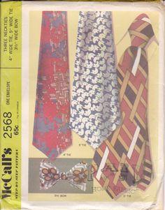Men's Necktie Pattern - Bowtie Pattern 1970 McCalls 2568 by PrettyfulPatterns on Etsy Mens Sewing Patterns, Mccalls Patterns, Vintage Patterns, Necktie Pattern, Bowtie Pattern, Hair Canvas, Textiles Techniques, Envelope, Retro Vintage