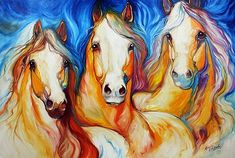 Marcia Baldwin Solid-Faced Canvas Print Wall Art Print entitled Spirits Three Equine Art, None Wall Art Prints, Fine Art Prints, Canvas Prints, Framed Prints, Framed Wall, Framed Canvas, Arte Equina, Horse Drawings, Equine Art
