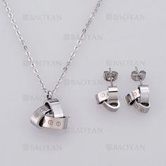 collar y aretes de moda de plateado en acero-SSNEG804085