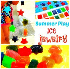 Ice Activities: Summer ice jewelry! A yummy and stylish summer treat. Great for practicing colors and color to flavor connection.