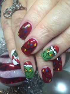 Holiday Nail Art, Christmas Nail Art Designs, Winter Nail Art, Winter Nails, Summer Nails, Xmas Nails, Christmas Nails, Grinch Christmas, Prom Nails