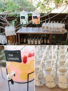Drink station idea with mason jars. So cute! @weddingchicks