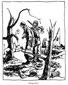 One of Bill Mauldin's World War II cartoons, featuring Willie & Joe.