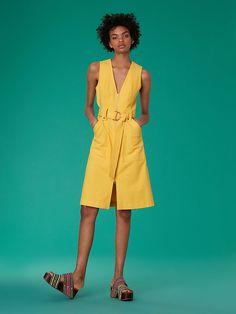 Diane Von Furstenberg Dvf Sleeveless A-Line Zip Front Denim Dress - 00 Zip Front Dress, Cute Dresses, Summer Dresses, Silk Shirt Dress, Fashion Gallery, New Wardrobe, Diane Von Furstenberg, Long Sleeve Tops, What To Wear