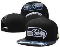 ec709be66e8 NFL Seattle Seahawks Snapback Brim NFL Team Logo Pattern Hats Black  007