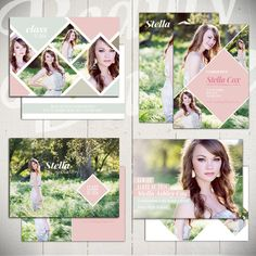 These Senior Card Templates for graduation are so pretty! By Beauty Divine on Etsy