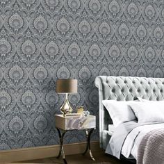This Luxe Damask Wallpaper features an intricate damask pattern with a metallic silver finish on a charcoal grey background with a textured fabric effect look Silver Wallpaper, Damask Wallpaper, Wallpaper Paste, Paper Wallpaper, Adhesive Wallpaper, High Quality Wallpapers, Floral Style, Gray Background, Timeless Fashion