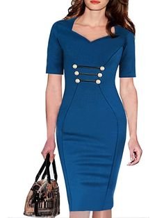 Fantastic V Neck Bodycon-dress With Button | fashionmia.com