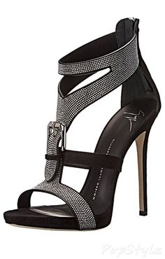 Giuseppe Zanotti Silver Pave Buckle Italian Leather Dress Sandal