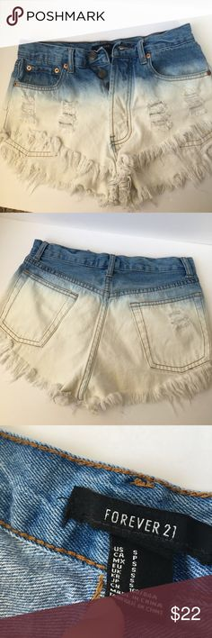 High Rise Ombré Shorts Denim wash, ombré high waisted shorts. In great condition. Super adorable and I'm sad I have to sell. Size is Small in Forever 21 brand, fits most 0-2! Forever 21 Shorts Jean Shorts