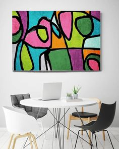 Vibrant Colorful Abstract-0-42. Mid-Century Modern Pink Green