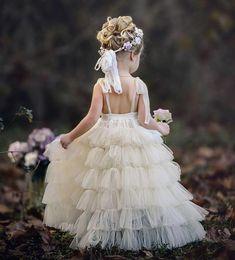 Ivory Spaghetti Straps Tulle Flower Girl Dresses, A-Line Beaded Popular Little Girl Dresses, Ivory Flower Girl Dresses, Tulle Flower Girl, Tulle Flowers, Little Girl Dresses, Girls Dresses, Lace Dresses, Baptism Dresses For Toddlers, Kids Gown, Beautiful Dresses