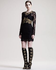 ShopStyle: Dolce & Gabbana Long-Sleeve Embroidered Lace Dress