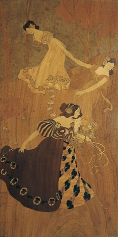 Gaspar Homar i Mesquida (1870-1953) & Josep Pey (1875-1956) - Dance of the Fairies Marquetry Panel. Pine with Hardwood & Fruitwood Marquetry Inlays. Executed by Joan Sagarra i Fills. Barcelona, Spain. Circa 1902. 101cm x 51cm.