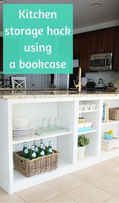 Put the empty space under kitchen countertops to use, by adding IKEA bookcases