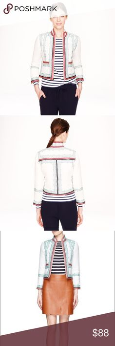 Rare! 💝J. Crew Collection embroidered linen jacke Gently used. Excellent Condition.          PRODUCT DETAILS We finished ladylike embroidered linen with a few strips of attention-getting ticker tape. The look is totally flattering and completely special.  Linen. Lightly filled and quilted. Standing collar. Zip closure. Patch pockets. Lined. Dry clean. Import. Item A1428. J. Crew Jackets & Coats