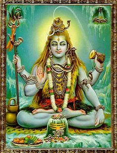 Shiva is both destroyer or purifier and re-creator. The snakes around his neck symbolize power over evil and fertility. He wears a female earring on his left and and a males on his right which symbolizes sexual power and union.
