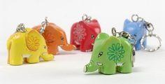 Portachiavi elefante legno dipinto - colori assortiti #keyring #elephants