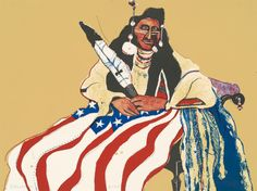"Fritz Scholder, Tamarind Institute, Lorillard Company, ""Bicentennial Indian,"" 1975, color lithograph on wove paper #nativeamericanheritagemonth"