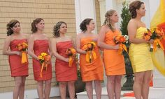 sunset colored bridesmaid dresses this is exactly what I want to do someday