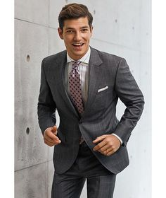 Canali - Contemporary Fit Windowpane Suit in Grey Size 48 Style #20056671 Windowpane Suit, Paul Shark, Dress Suits, Dresses, Check Dress, Gingham Check, Merino Wool Sweater, Check Shirt, Taupe
